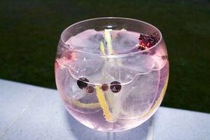 Gin tonic rosa: Seagram's con Markham, bayas de enebro, pimienta rosa, pétalos de hibisco y cardamomo.